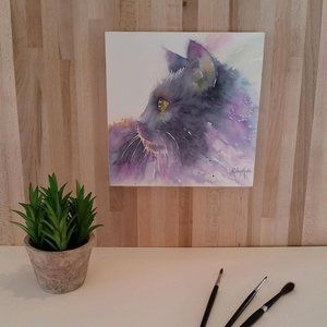 Cat Watercolor Print-Mounted on wood panel 2 of 2